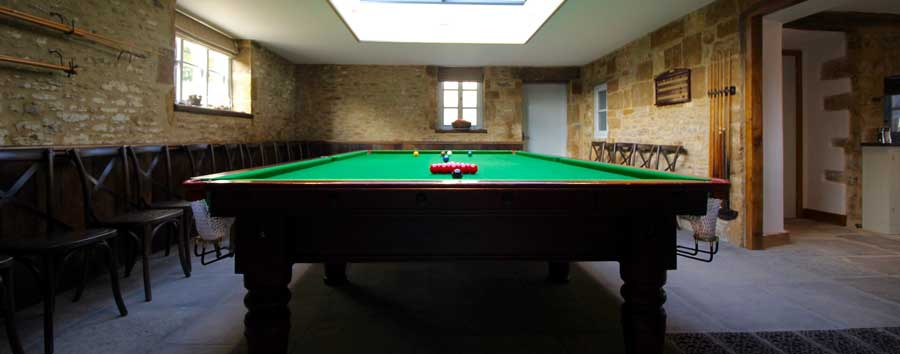 The pool room in Tew Farmhouse
