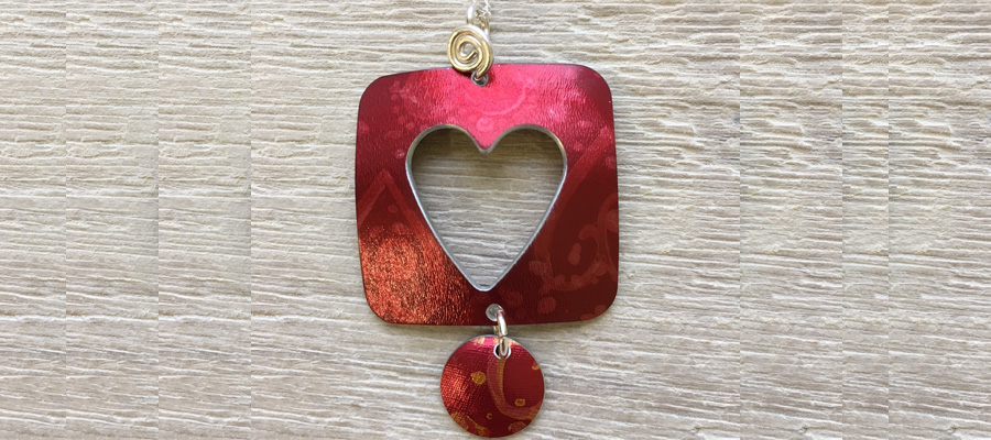Heart necklace by Hazel Atkinson at New Brewery Arts in Cirencester