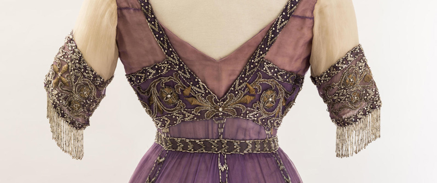 Queen Alexandra's mauve silk chiffon embroidered dress at the Fashion Museum