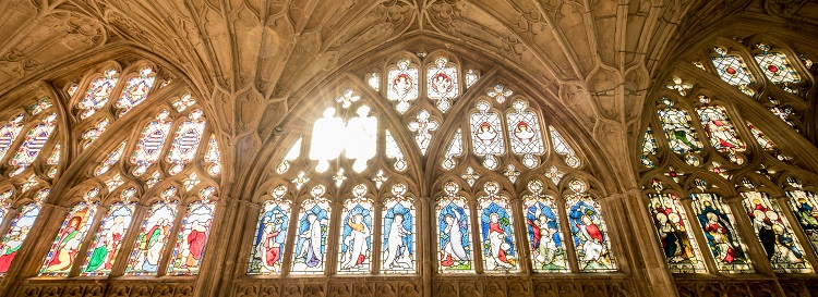Stained glass windows in Gloucester Cathedral