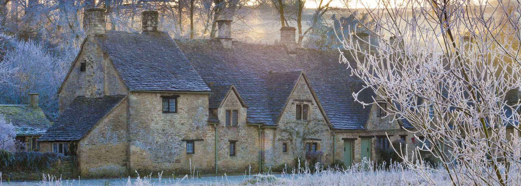 Arlington Row in Bibury on a crisp and frosty morning