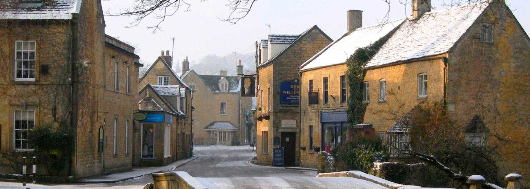 A wintery view of Bourton on the Water