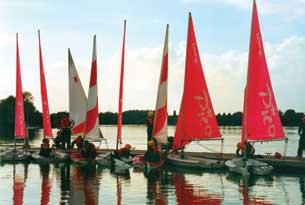 Sailing boats at South Cerney Outdoor at Cotswold Water Park