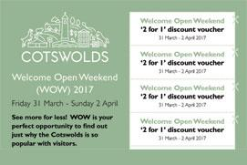 Cotswolds Welcome Open Weekend - Friday 31 March to Sunday 2 April - offering '2 for 1' entry to attractions across the Cotswolds