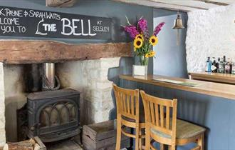The bar of The Bell at Selsley