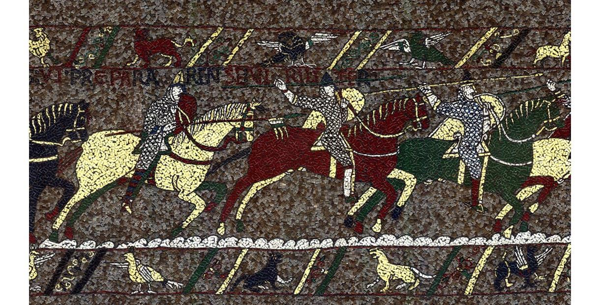 Scene from the Bayeux Tapestry mosaic depicting a horse charge with norman knights on horseback