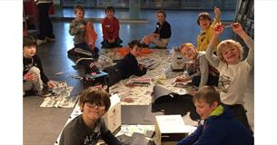 Group of children taking part in craft activities during a Kids Club session at SOFO Museum