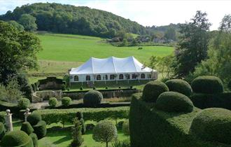 Wedding marquee at Owlpen Manor