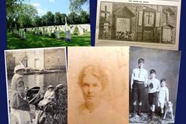 'Scrap book' style image collage of photos featuring people and places from Great War-era Oxford