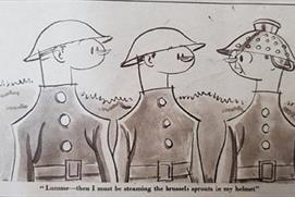 Cartoon depicting three soldiers standing in line, one wear a colander as a helmet